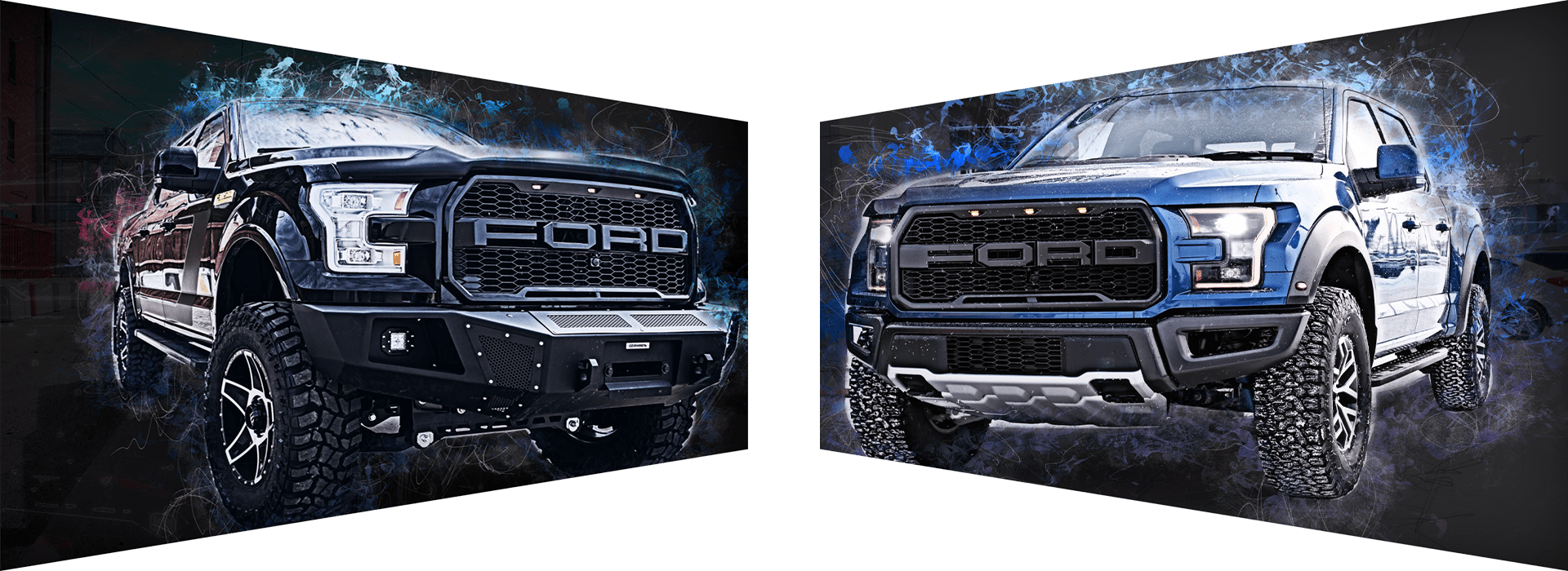 Two rugged looking Ford trucks
